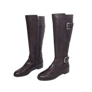 Via Spiga Brown Leather Riding Boots w/ Buckles